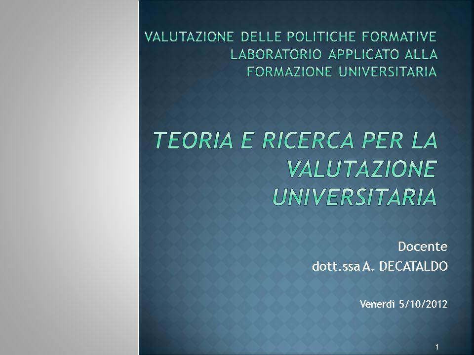 Docente dott.ssa A. DECATALDO Venerdì 5/10/2012 1