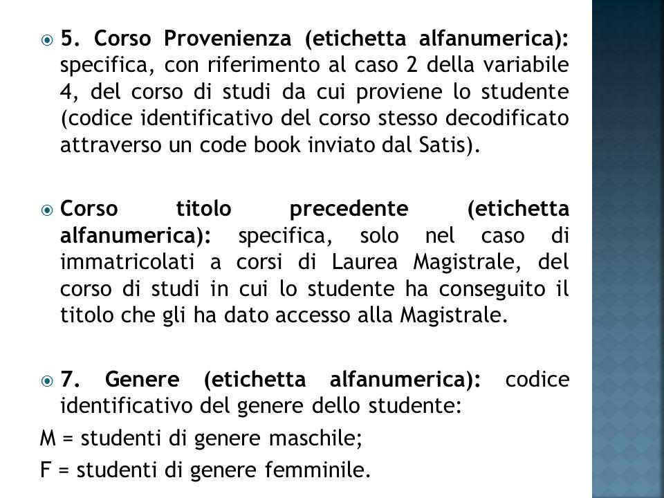  5. Corso Provenienza (etichetta alfanumerica): specifica, con riferimento al caso 2 della variabile 4, del corso di studi da cui proviene lo student