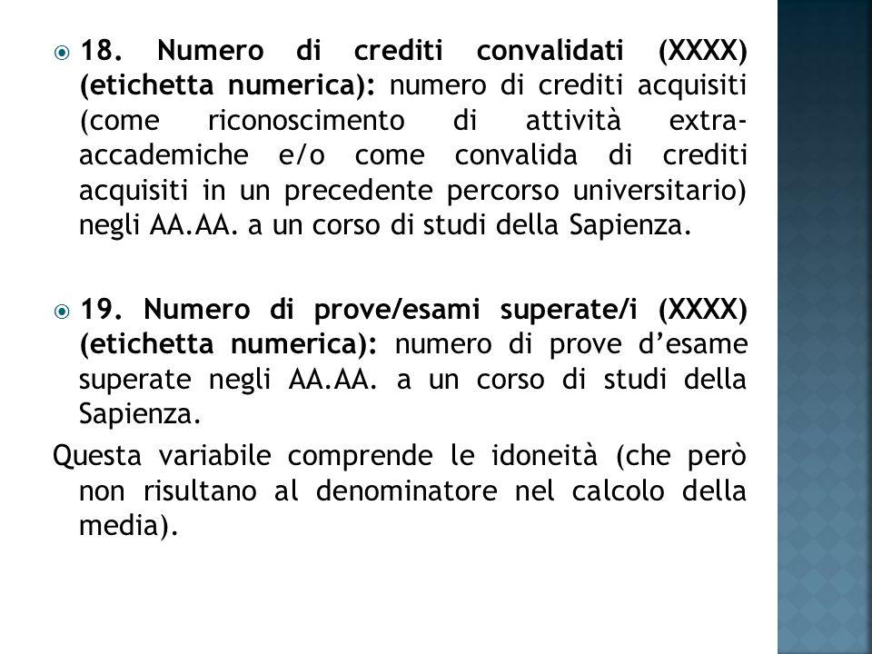  18. Numero di crediti convalidati (XXXX) (etichetta numerica): numero di crediti acquisiti (come riconoscimento di attività extra- accademiche e/o c