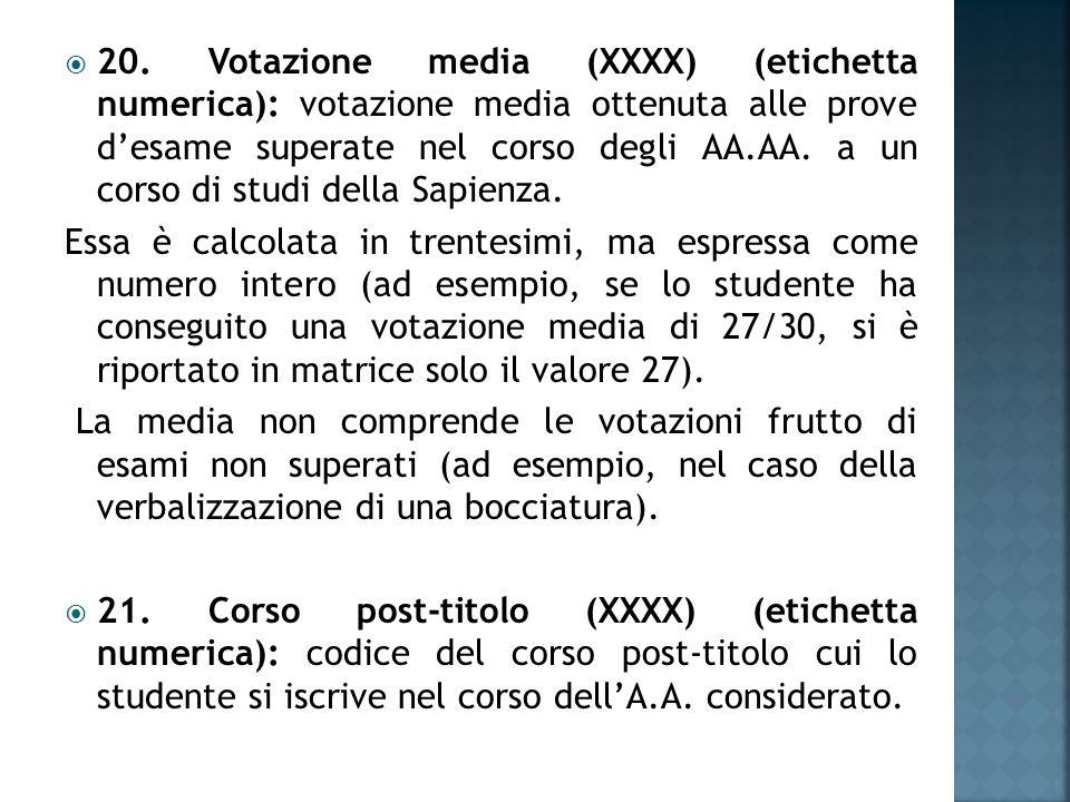  20. Votazione media (XXXX) (etichetta numerica): votazione media ottenuta alle prove d'esame superate nel corso degli AA.AA. a un corso di studi del