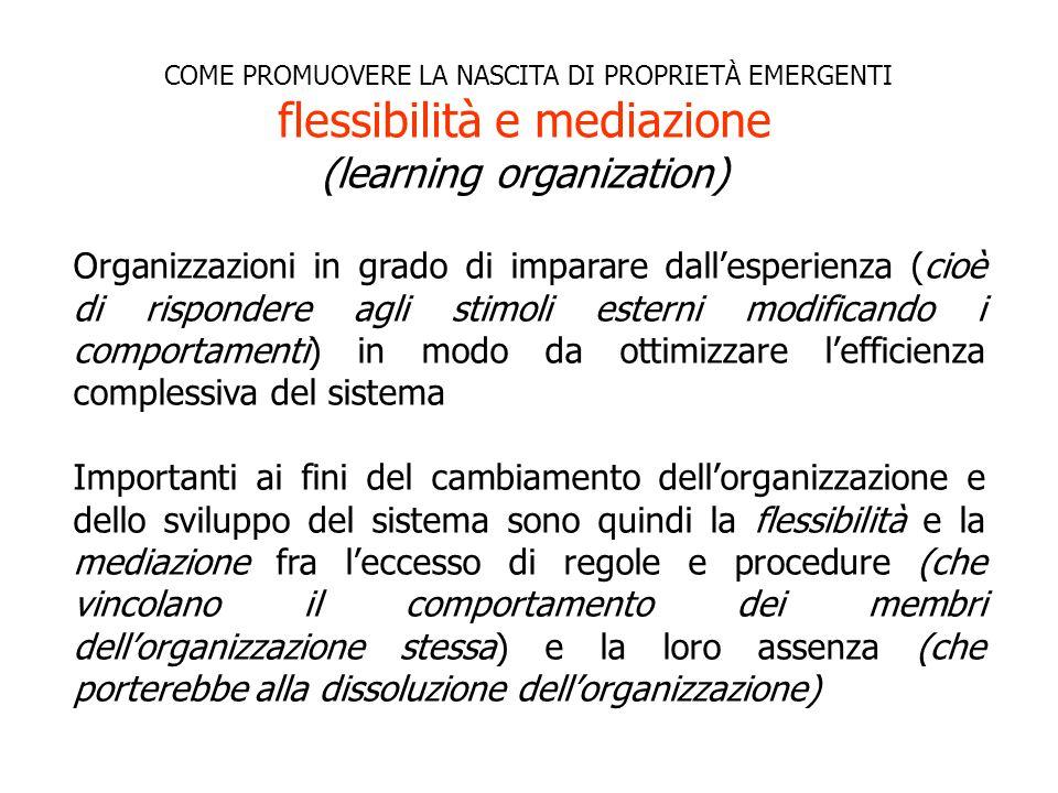 Organizzazioni in grado di imparare dall'esperienza (cioè di rispondere agli stimoli esterni modificando i comportamenti) in modo da ottimizzare l'efficienza complessiva del sistema Importanti ai fini del cambiamento dell'organizzazione e dello sviluppo del sistema sono quindi la flessibilità e la mediazione fra l'eccesso di regole e procedure (che vincolano il comportamento dei membri dell'organizzazione stessa) e la loro assenza (che porterebbe alla dissoluzione dell'organizzazione) COME PROMUOVERE LA NASCITA DI PROPRIETÀ EMERGENTI flessibilità e mediazione (learning organization)