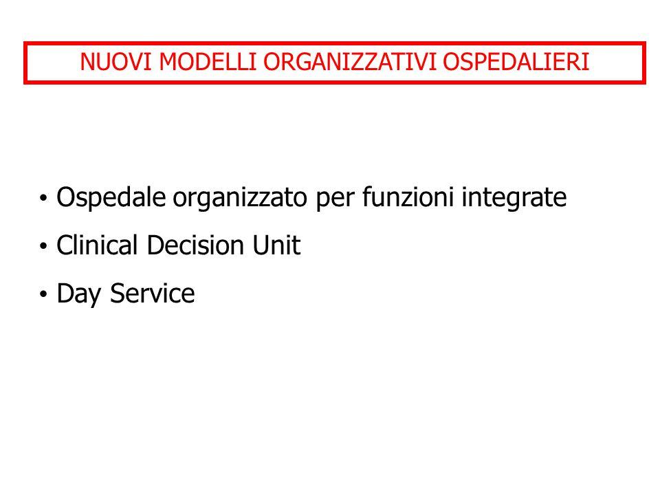NUOVI MODELLI ORGANIZZATIVI OSPEDALIERI Ospedale organizzato per funzioni integrate Clinical Decision Unit Day Service
