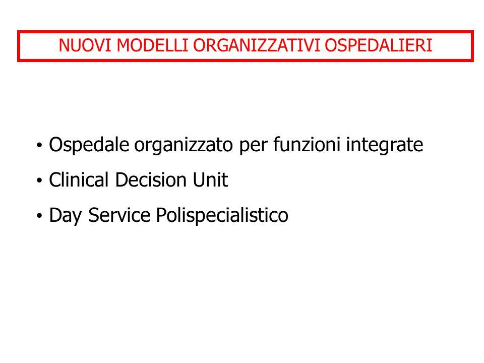 NUOVI MODELLI ORGANIZZATIVI OSPEDALIERI Ospedale organizzato per funzioni integrate Clinical Decision Unit Day Service Polispecialistico