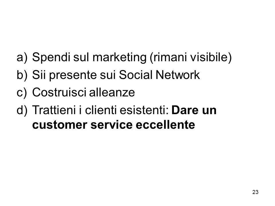 23 a)Spendi sul marketing (rimani visibile) b)Sii presente sui Social Network c)Costruisci alleanze d)Trattieni i clienti esistenti: Dare un customer service eccellente