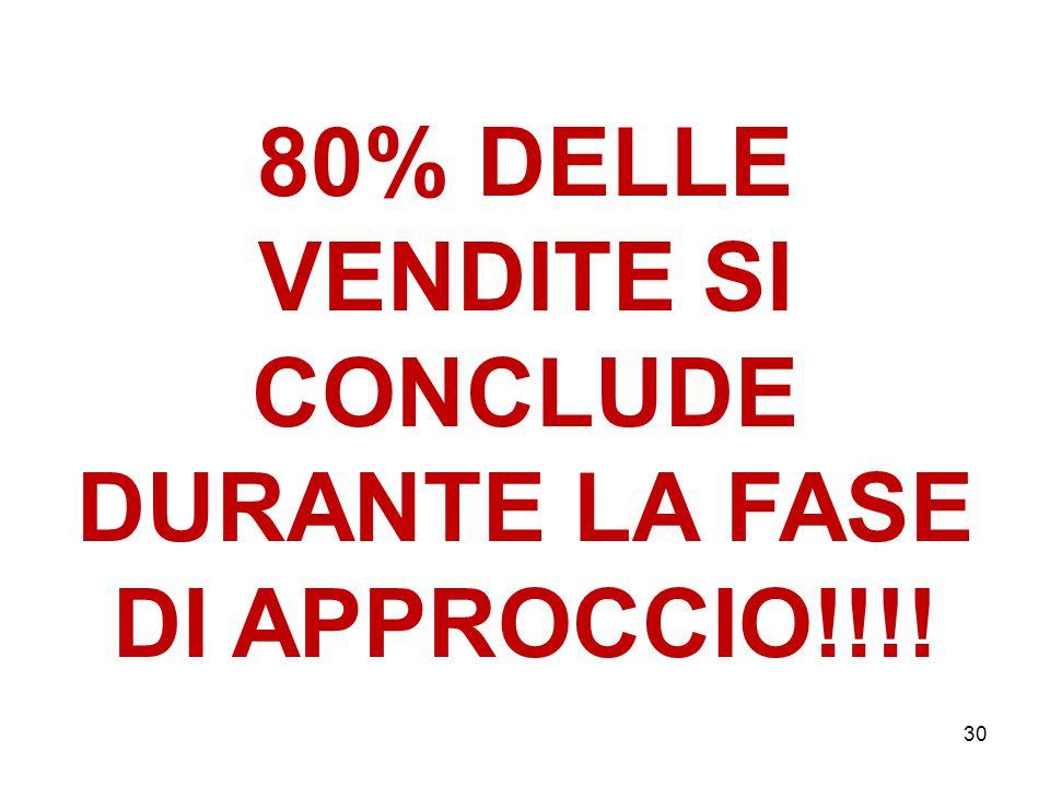 30 80% DELLE VENDITE SI CONCLUDE DURANTE LA FASE DI APPROCCIO!!!!