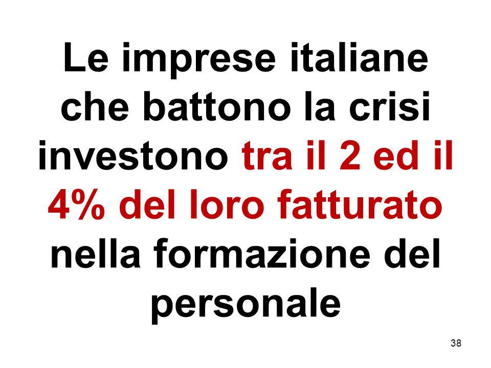 Le imprese italiane che battono la crisi investono tra il 2 ed il 4% del loro fatturato nella formazione del personale 38