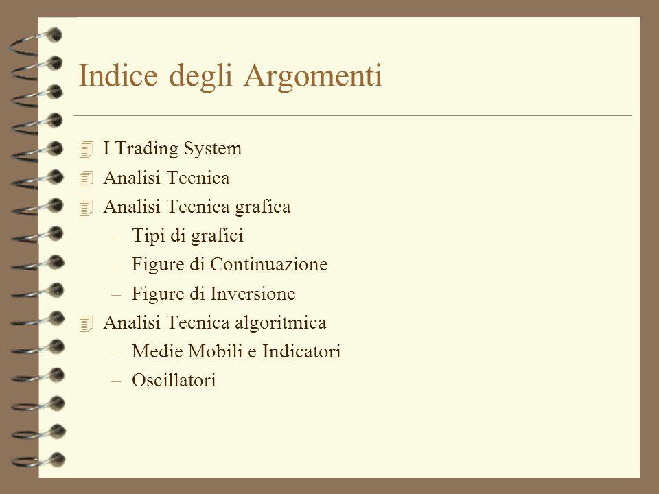 Indice degli Argomenti 4 I Trading System 4 Analisi Tecnica 4 Analisi Tecnica grafica –Tipi di grafici –Figure di Continuazione –Figure di Inversione