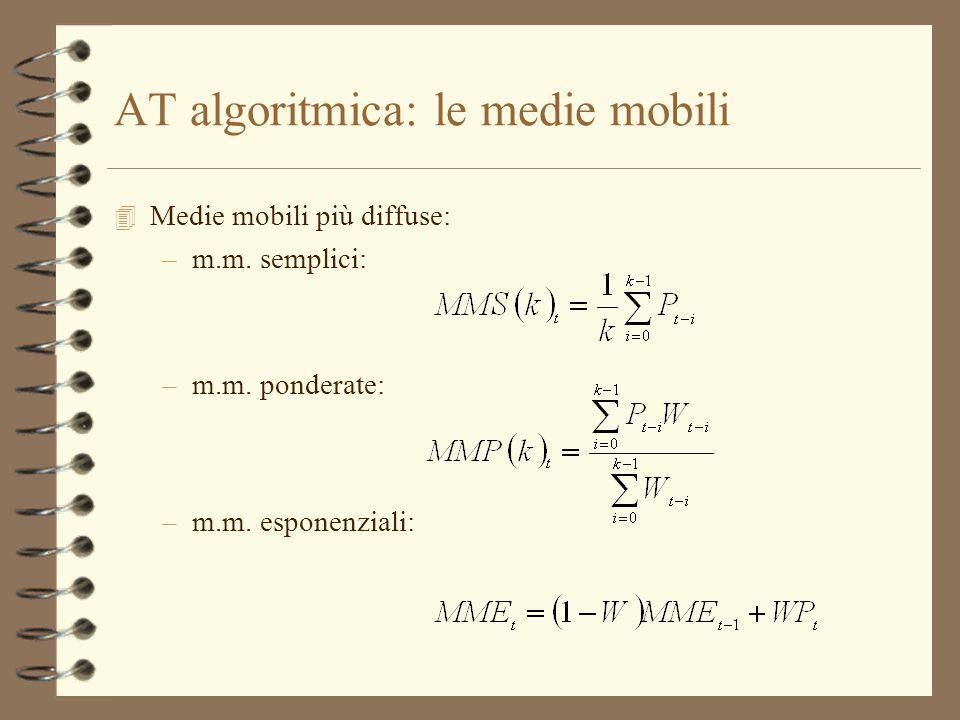 AT algoritmica: le medie mobili 4 Medie mobili più diffuse: –m.m. semplici: –m.m. ponderate: –m.m. esponenziali: