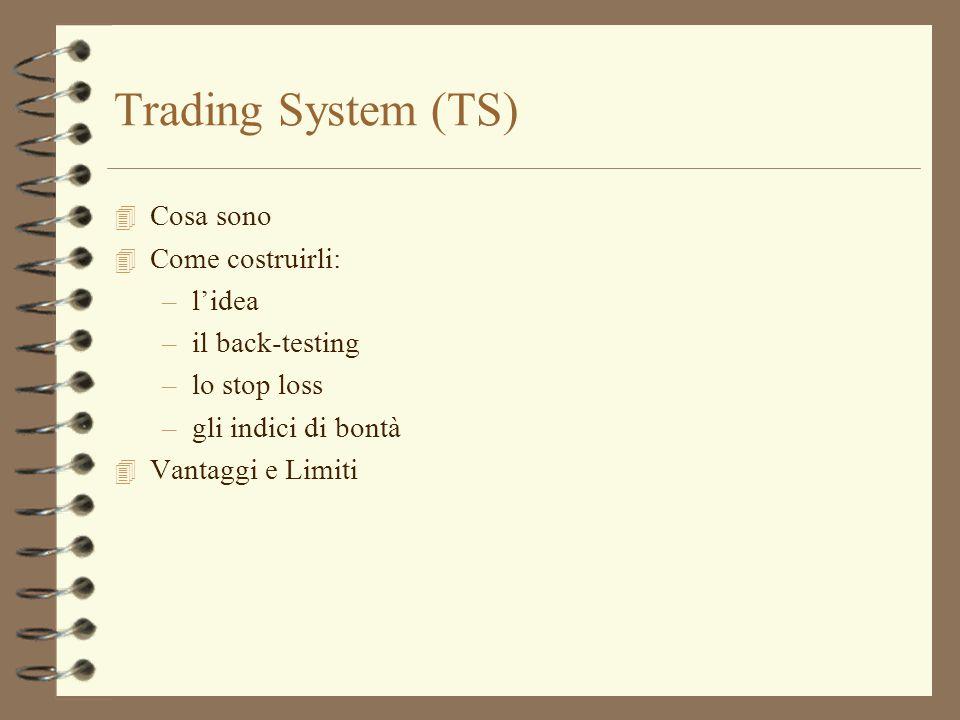 Trading System (TS) 4 Cosa sono 4 Come costruirli: –l'idea –il back-testing –lo stop loss –gli indici di bontà 4 Vantaggi e Limiti