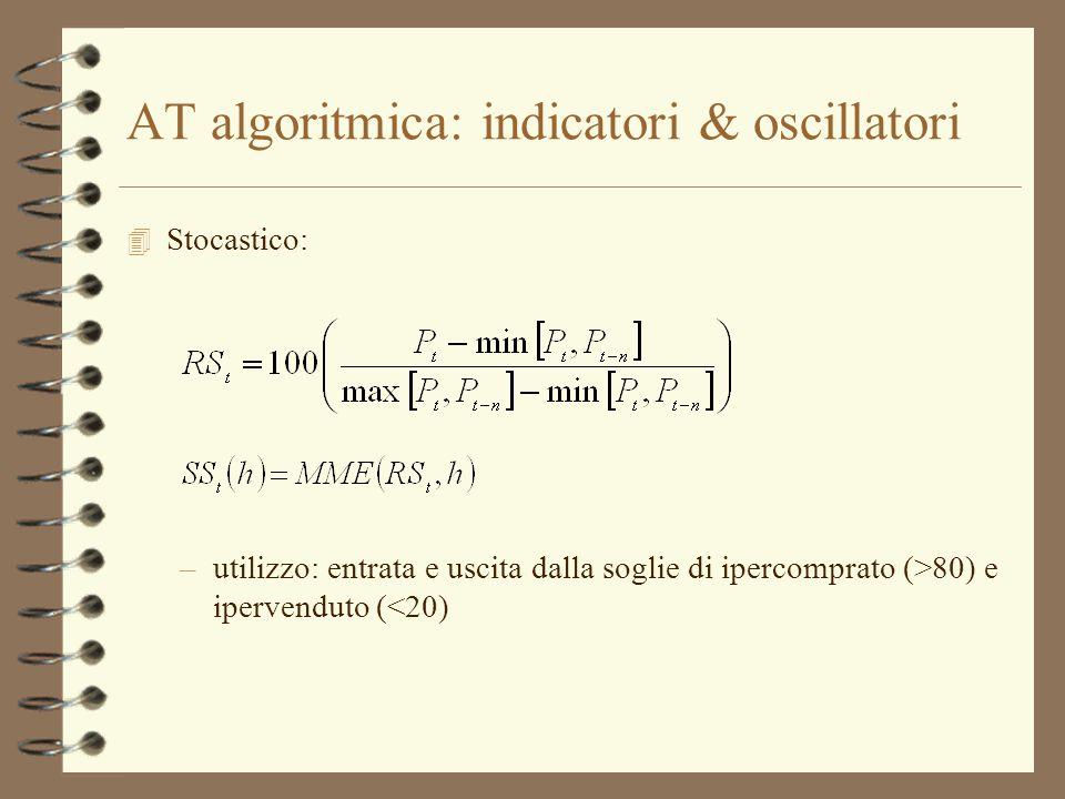 AT algoritmica: indicatori & oscillatori 4 Stocastico: –utilizzo: entrata e uscita dalla soglie di ipercomprato (>80) e ipervenduto (<20)