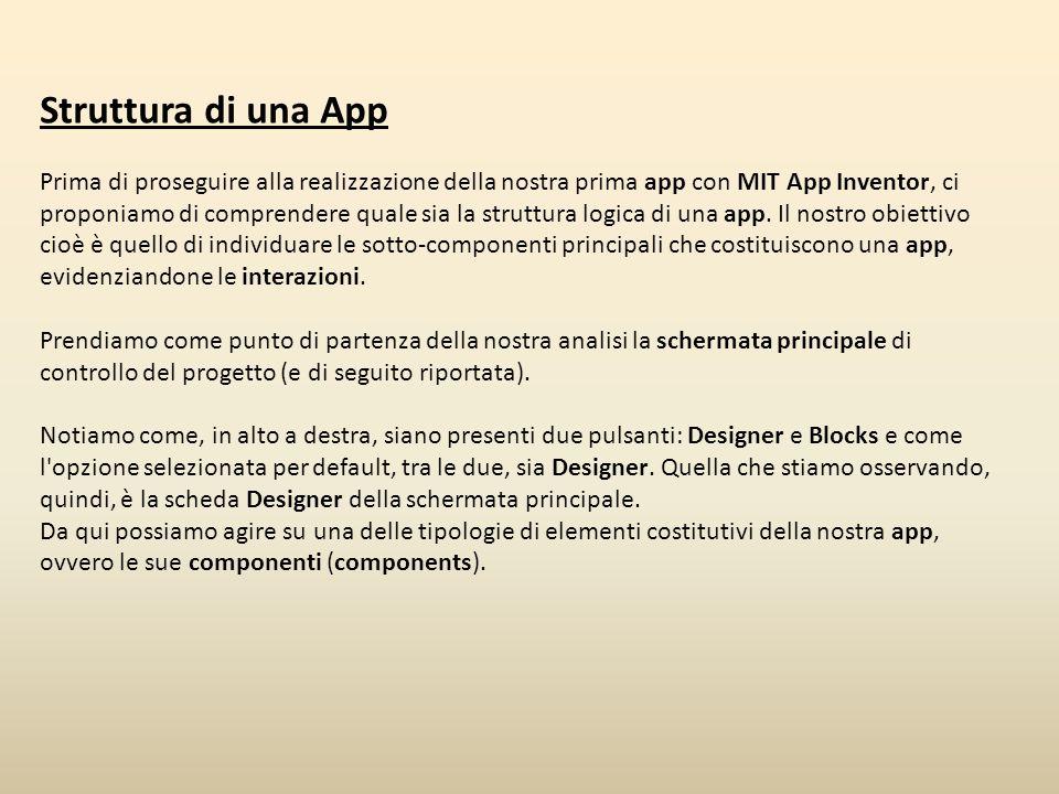 Struttura di una App Prima di proseguire alla realizzazione della nostra prima app con MIT App Inventor, ci proponiamo di comprendere quale sia la str