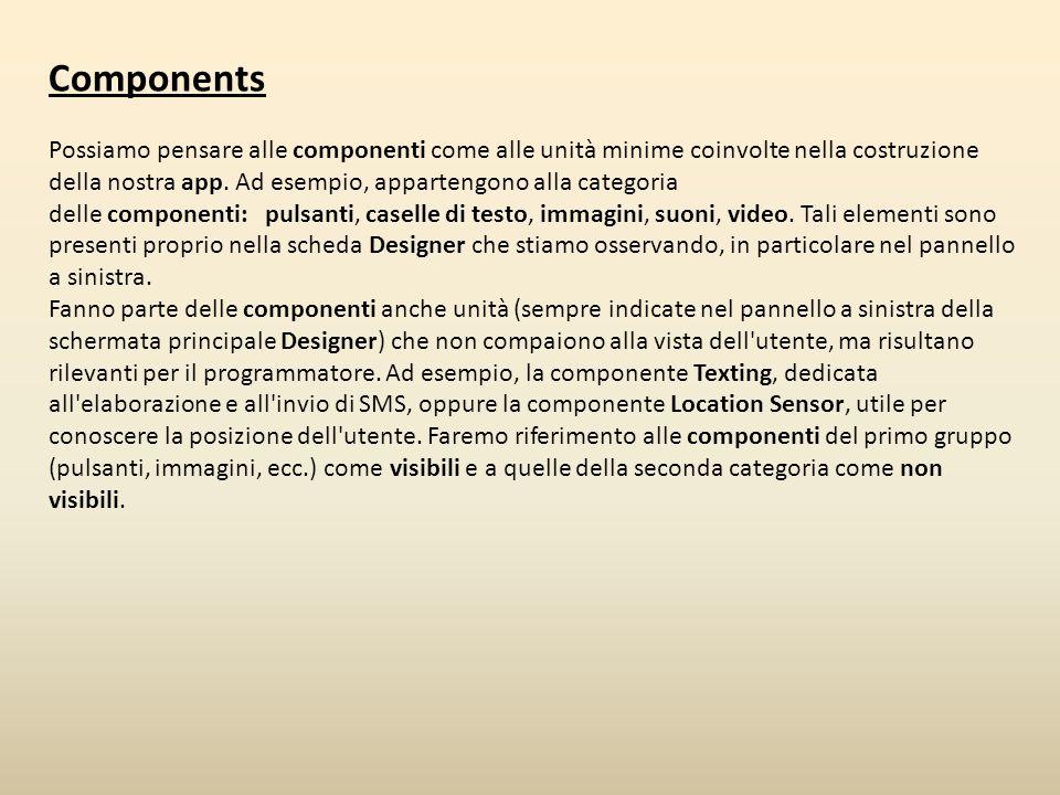 Components Possiamo pensare alle componenti come alle unità minime coinvolte nella costruzione della nostra app. Ad esempio, appartengono alla categor
