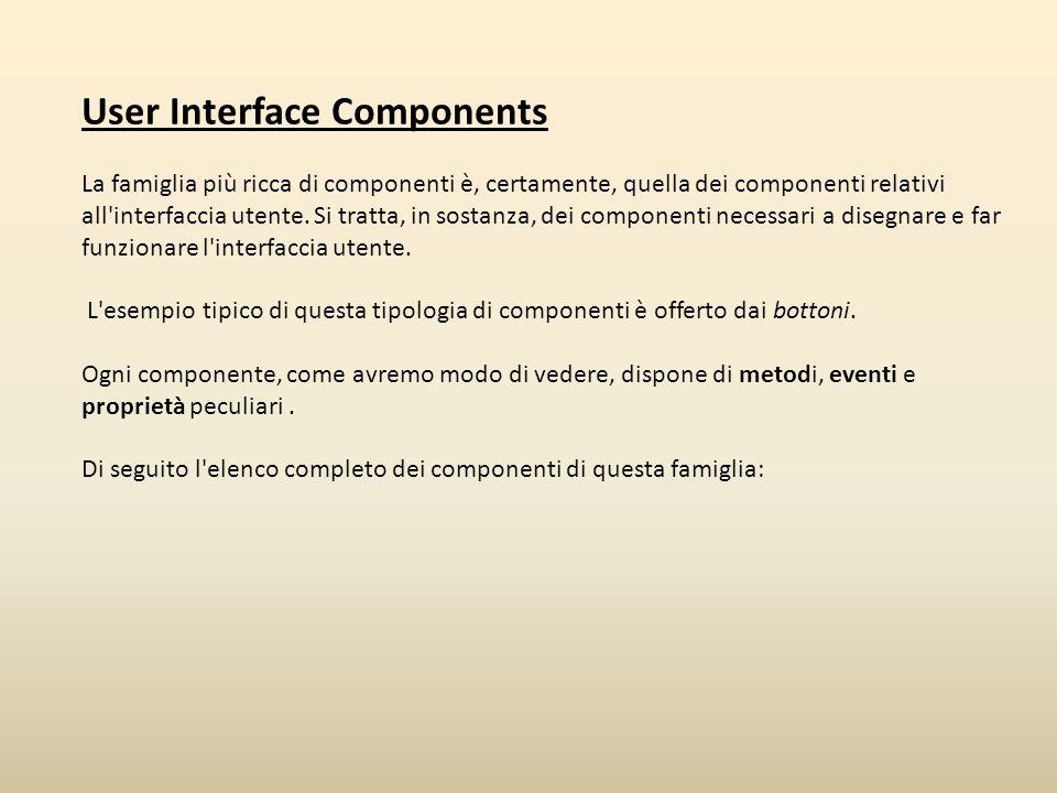 User Interface Components La famiglia più ricca di componenti è, certamente, quella dei componenti relativi all'interfaccia utente. Si tratta, in sost