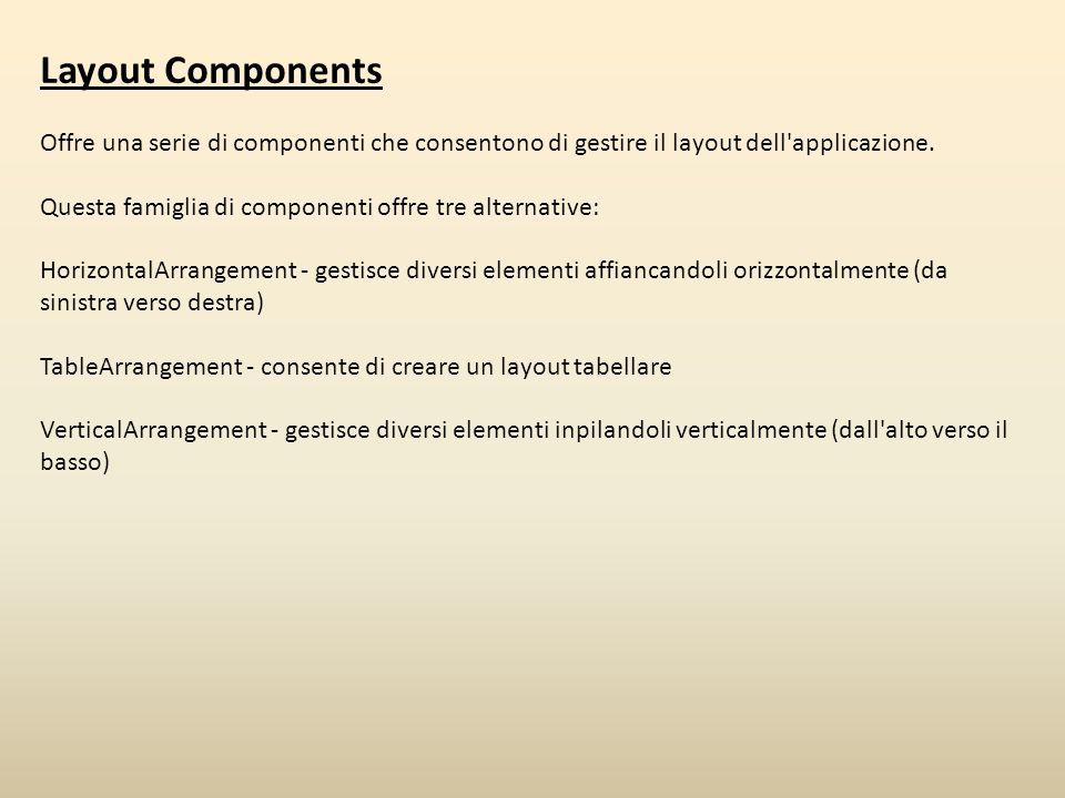 Layout Components Offre una serie di componenti che consentono di gestire il layout dell'applicazione. Questa famiglia di componenti offre tre alterna