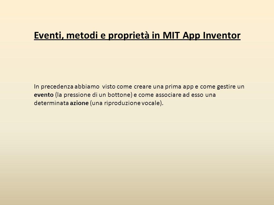 Eventi, metodi e proprietà in MIT App Inventor In precedenza abbiamo visto come creare una prima app e come gestire un evento (la pressione di un bott