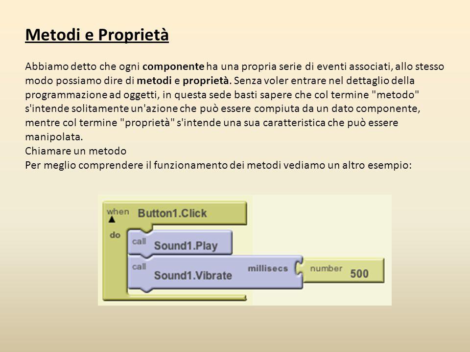 Metodi e Proprietà Abbiamo detto che ogni componente ha una propria serie di eventi associati, allo stesso modo possiamo dire di metodi e proprietà. S