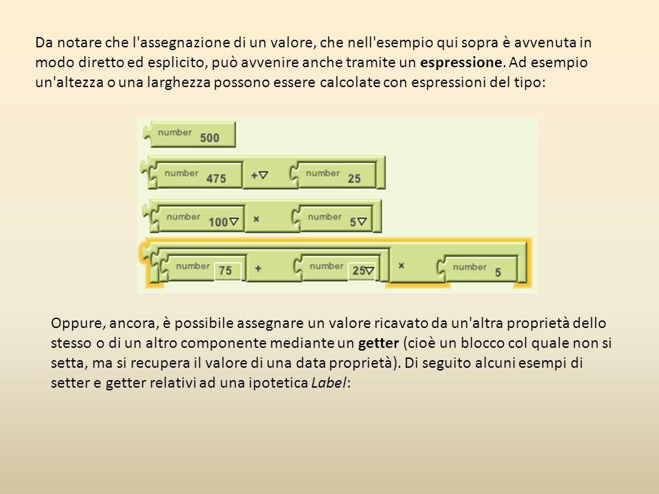 Da notare che l'assegnazione di un valore, che nell'esempio qui sopra è avvenuta in modo diretto ed esplicito, può avvenire anche tramite un espressio