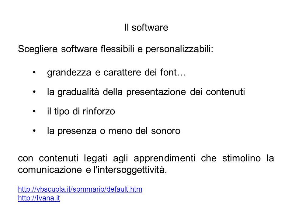 Scegliere software flessibili e personalizzabili: grandezza e carattere dei font… la gradualità della presentazione dei contenuti il tipo di rinforzo