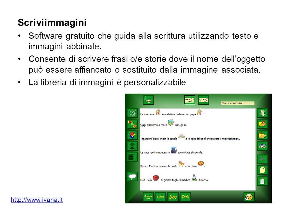 Scriviimmagini Software gratuito che guida alla scrittura utilizzando testo e immagini abbinate. Consente di scrivere frasi o/e storie dove il nome de