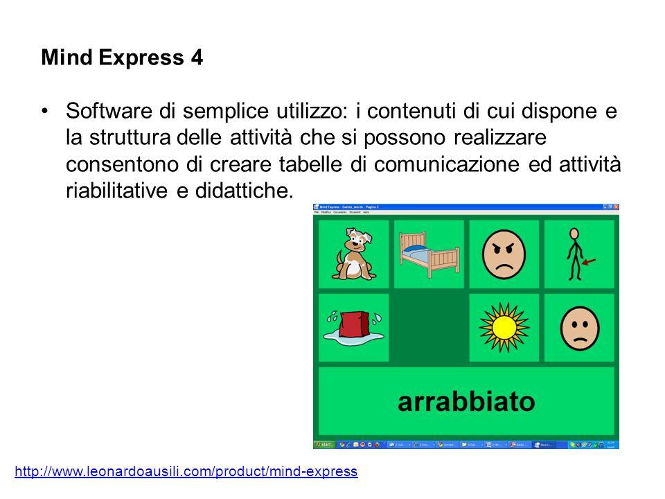 Mind Express 4 Software di semplice utilizzo: i contenuti di cui dispone e la struttura delle attività che si possono realizzare consentono di creare tabelle di comunicazione ed attività riabilitative e didattiche.