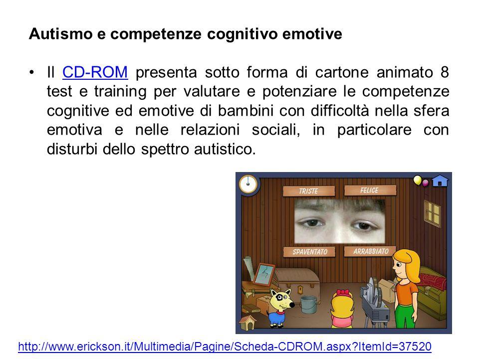 Autismo e competenze cognitivo emotive Il CD-ROM presenta sotto forma di cartone animato 8 test e training per valutare e potenziare le competenze cognitive ed emotive di bambini con difficoltà nella sfera emotiva e nelle relazioni sociali, in particolare con disturbi dello spettro autistico.