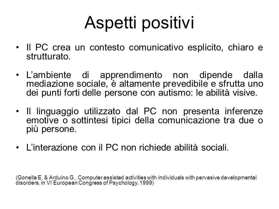 Aspetti positivi Il PC crea un contesto comunicativo esplicito, chiaro e strutturato. L'ambiente di apprendimento non dipende dalla mediazione sociale