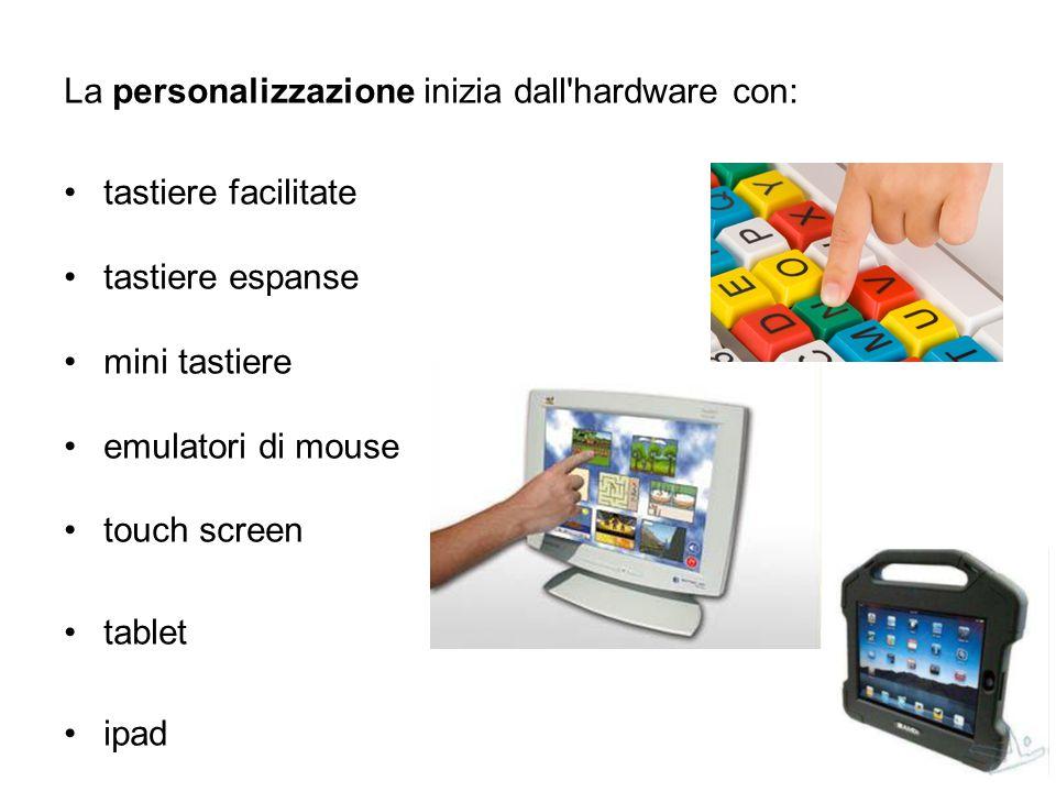 La personalizzazione inizia dall'hardware con: tastiere facilitate tastiere espanse mini tastiere emulatori di mouse touch screen tablet ipad