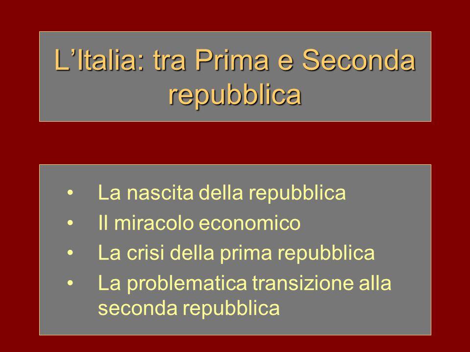 L'Italia: tra Prima e Seconda repubblica La nascita della repubblica Il miracolo economico La crisi della prima repubblica La problematica transizione