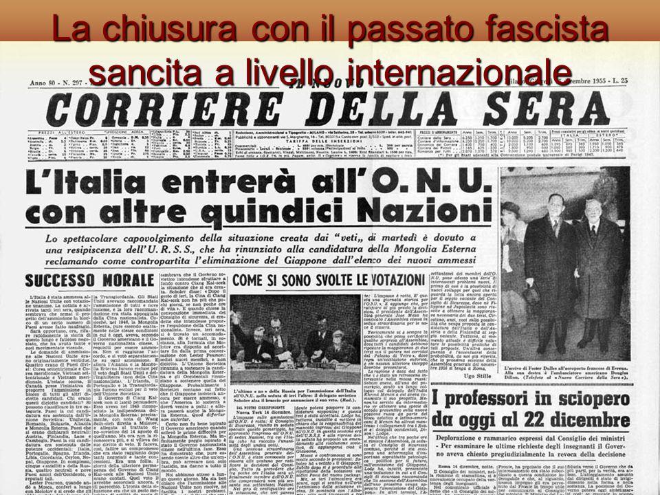 La chiusura con il passato fascista sancita a livello internazionale