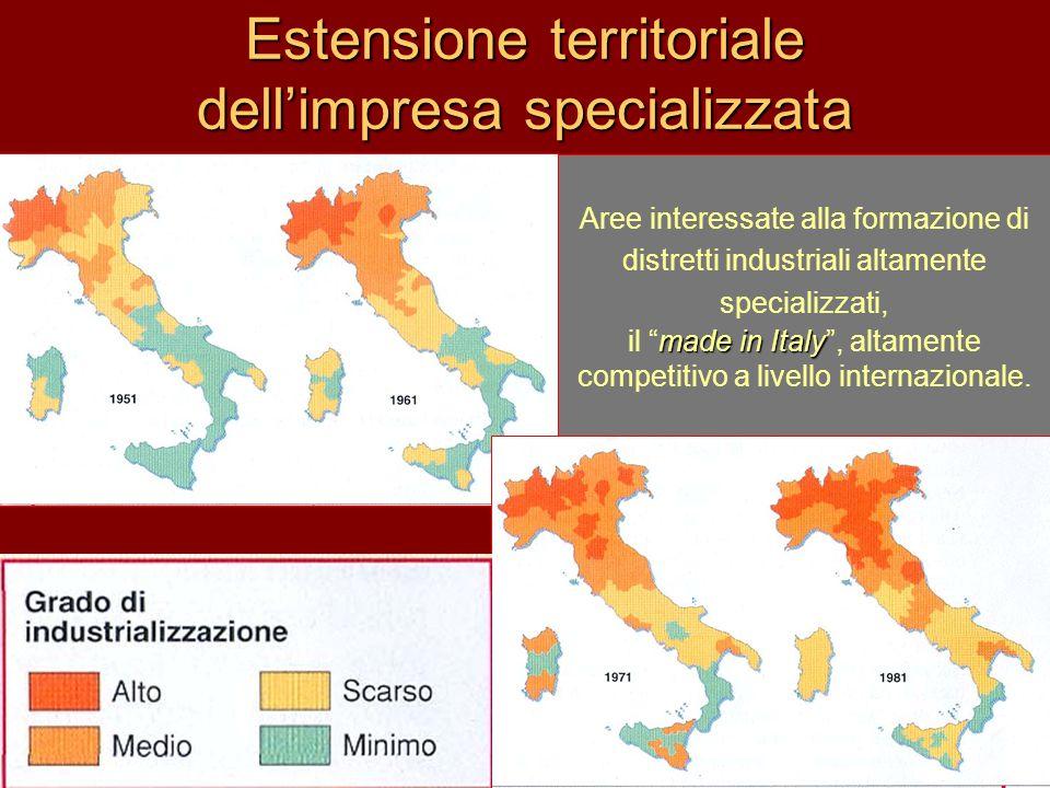 Estensione territoriale dell'impresa specializzata Aree interessate alla formazione di distretti industriali altamente specializzati, made in Italy il