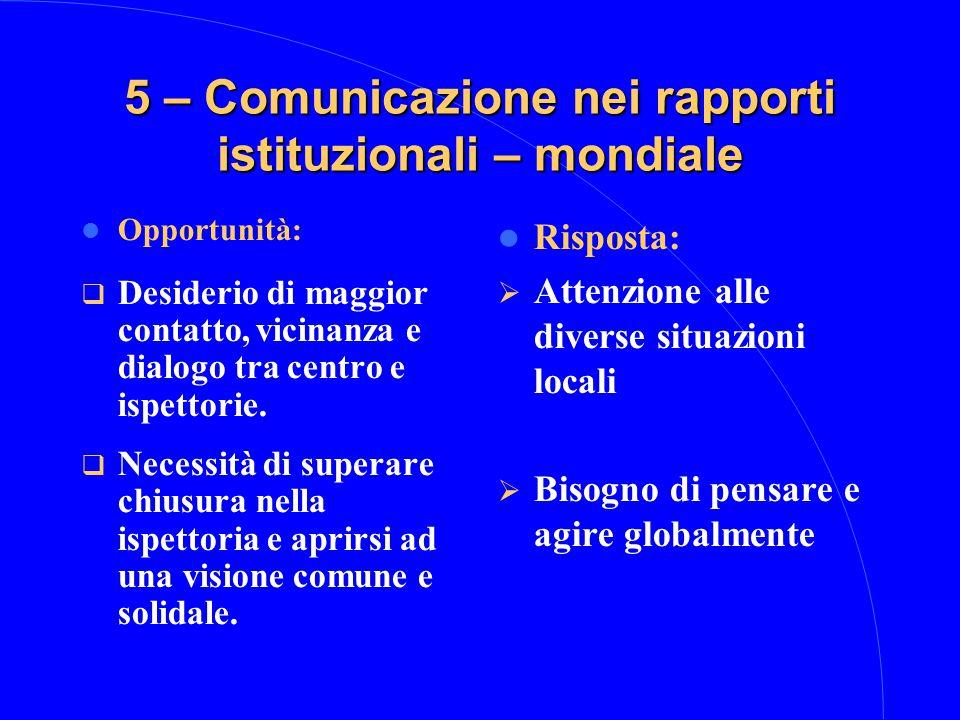 5 – Comunicazione nei rapporti istituzionali – mondiale Opportunità:  Desiderio di maggior contatto, vicinanza e dialogo tra centro e ispettorie.