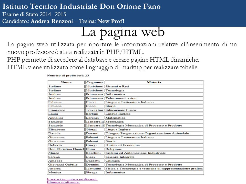 La pagina web La pagina web utilizzata per riportare le informazioni relative all inserimento di un nuovo professore è stata realizzata in PHP/HTML.