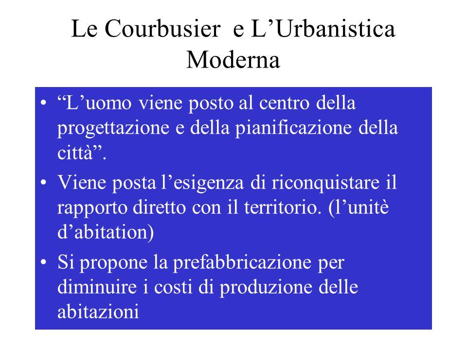"""Le Courbusier e L'Urbanistica Moderna """"L'uomo viene posto al centro della progettazione e della pianificazione della città"""". Viene posta l'esigenza di"""
