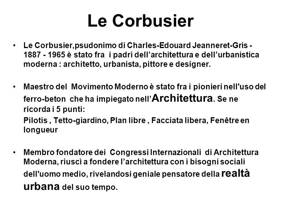 Le Corbusier Le Corbusier,psudonimo di Charles-Edouard Jeanneret-Gris - 1887 - 1965 è stato fra i padri dell'architettura e dell'urbanistica moderna :