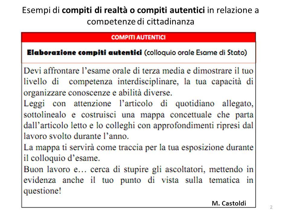 2 Esempi di compiti di realtà o compiti autentici in relazione a competenze di cittadinanza M. Castoldi