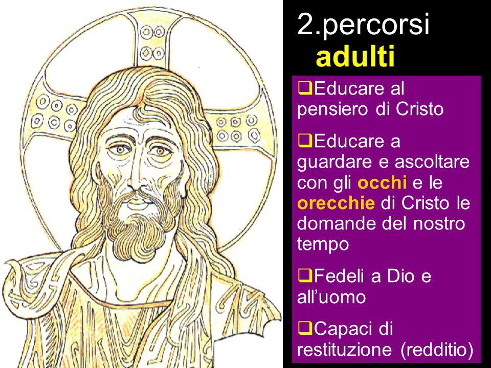 Capitolo 1 – Abitare con speranza il nostro tempo Un nuovo impegno di evangelizzazi one (8-31) 3. la proposta 2.percorsi adulti  Educare al pensiero