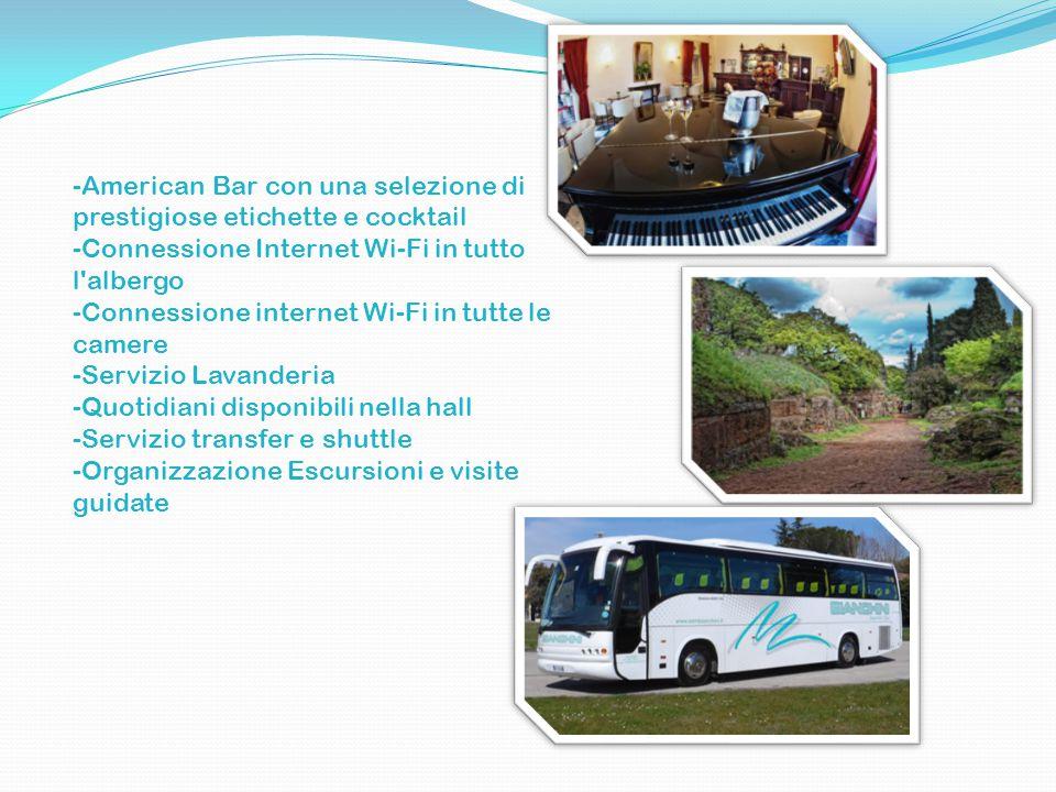 -American Bar con una selezione di prestigiose etichette e cocktail -Connessione Internet Wi-Fi in tutto l albergo -Connessione internet Wi-Fi in tutte le camere -Servizio Lavanderia -Quotidiani disponibili nella hall -Servizio transfer e shuttle -Organizzazione Escursioni e visite guidate