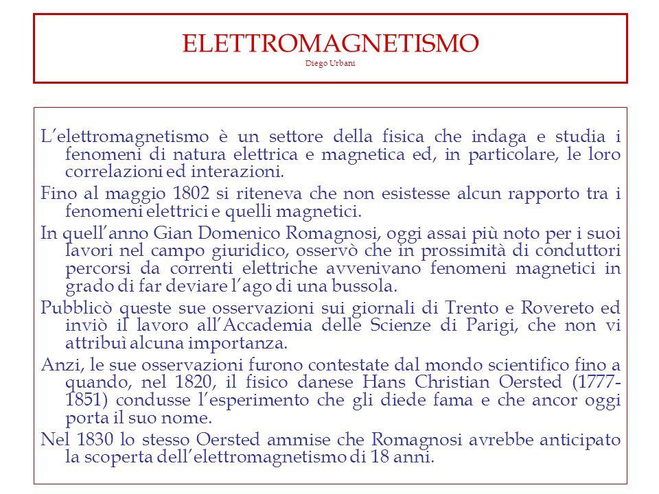 ELETTROMAGNETISMO Diego Urbani L'elettromagnetismo è un settore della fisica che indaga e studia i fenomeni di natura elettrica e magnetica ed, in particolare, le loro correlazioni ed interazioni.