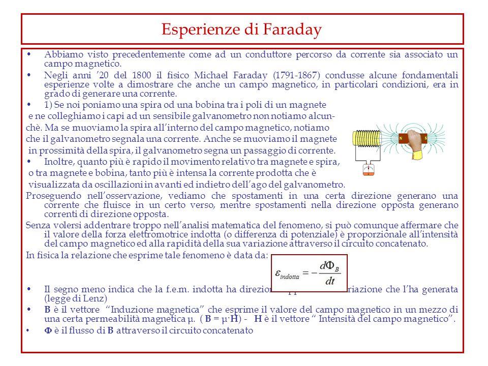 Realizzazione della prima esperienza di Faraday Una semplice dimostrazione della legge di Faraday può essere effettuata collegando i poli di un trasformatore (ad es.