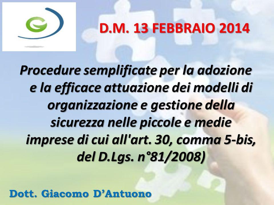 Procedure semplificate per la adozione e la efficace attuazione dei modelli di organizzazione e gestione della sicurezza nelle piccole e medie imprese