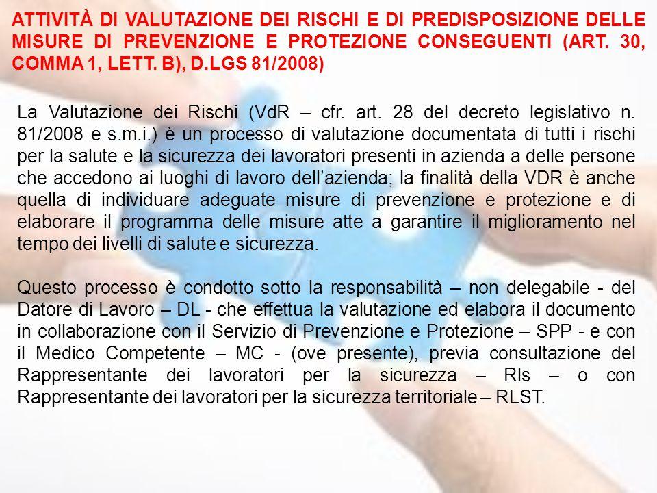 ATTIVITÀ DI VALUTAZIONE DEI RISCHI E DI PREDISPOSIZIONE DELLE MISURE DI PREVENZIONE E PROTEZIONE CONSEGUENTI (ART. 30, COMMA 1, LETT. B), D.LGS 81/200
