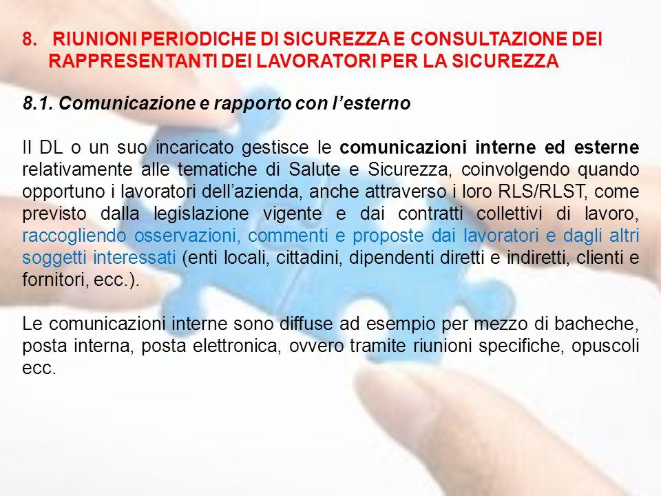 8. RIUNIONI PERIODICHE DI SICUREZZA E CONSULTAZIONE DEI RAPPRESENTANTI DEI LAVORATORI PER LA SICUREZZA 8.1. Comunicazione e rapporto con l'esterno Il
