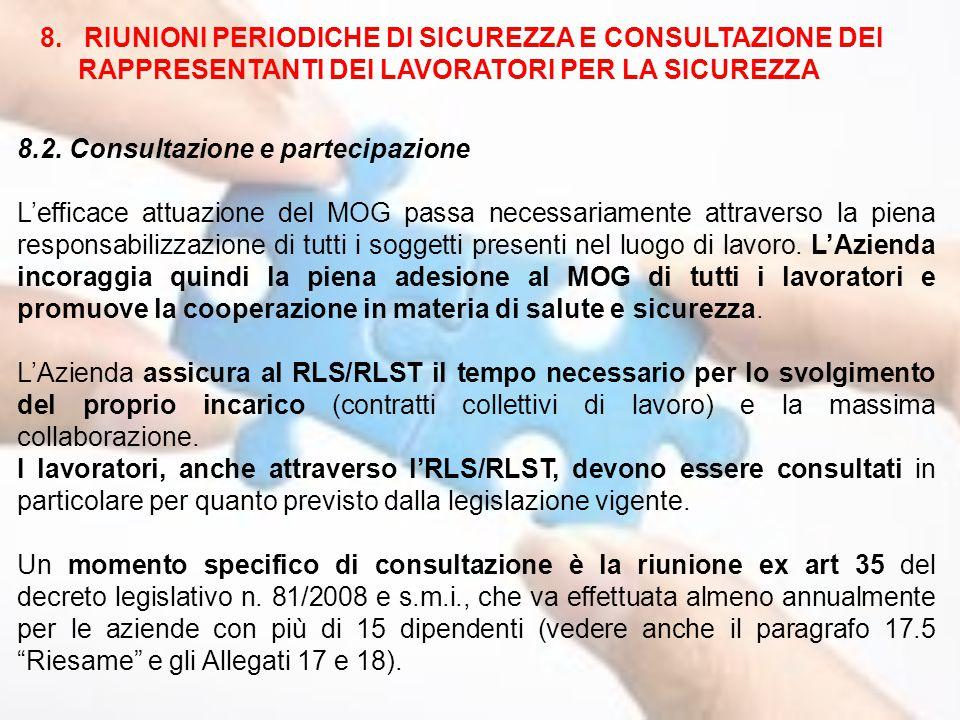 8.2. Consultazione e partecipazione L'efficace attuazione del MOG passa necessariamente attraverso la piena responsabilizzazione di tutti i soggetti p
