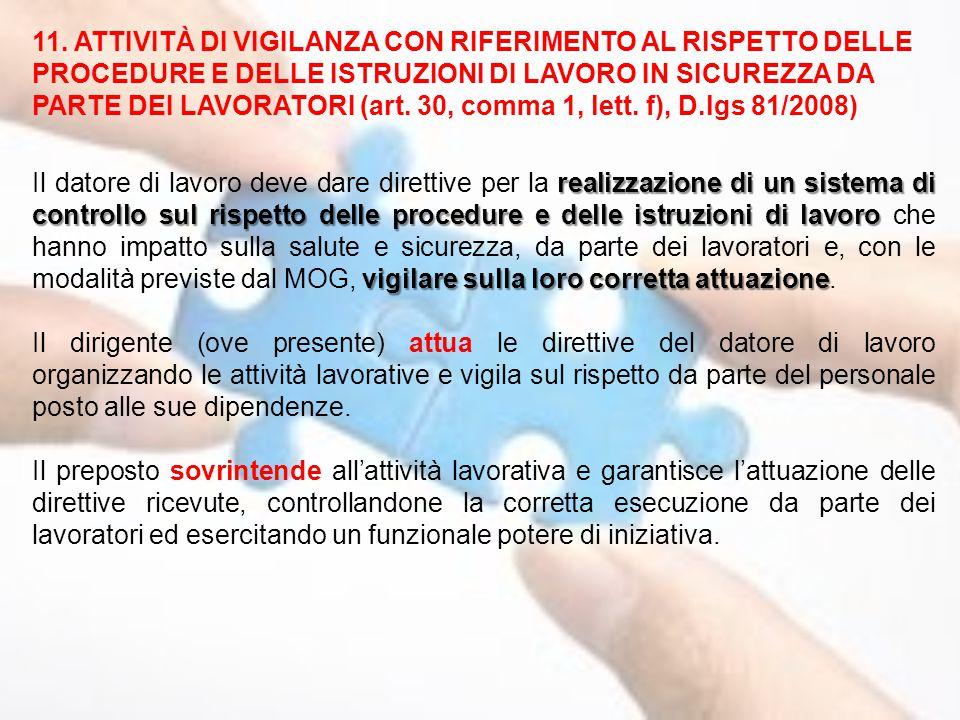 11. ATTIVITÀ DI VIGILANZA CON RIFERIMENTO AL RISPETTO DELLE PROCEDURE E DELLE ISTRUZIONI DI LAVORO IN SICUREZZA DA PARTE DEI LAVORATORI (art. 30, comm