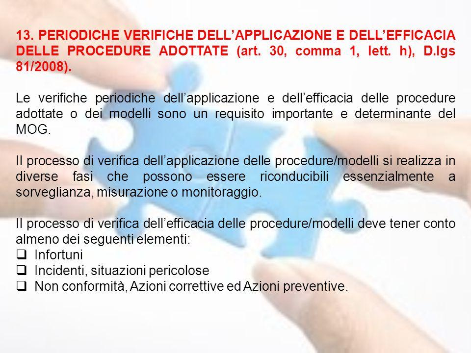 13. PERIODICHE VERIFICHE DELL'APPLICAZIONE E DELL'EFFICACIA DELLE PROCEDURE ADOTTATE (art. 30, comma 1, lett. h), D.lgs 81/2008). Le verifiche periodi