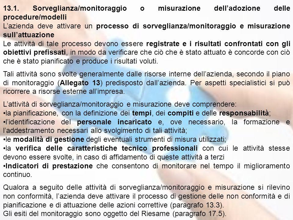 13.1. Sorveglianza/monitoraggio o misurazione dell'adozione delle procedure/modelli L'azienda deve attivare un processo di sorveglianza/monitoraggio e