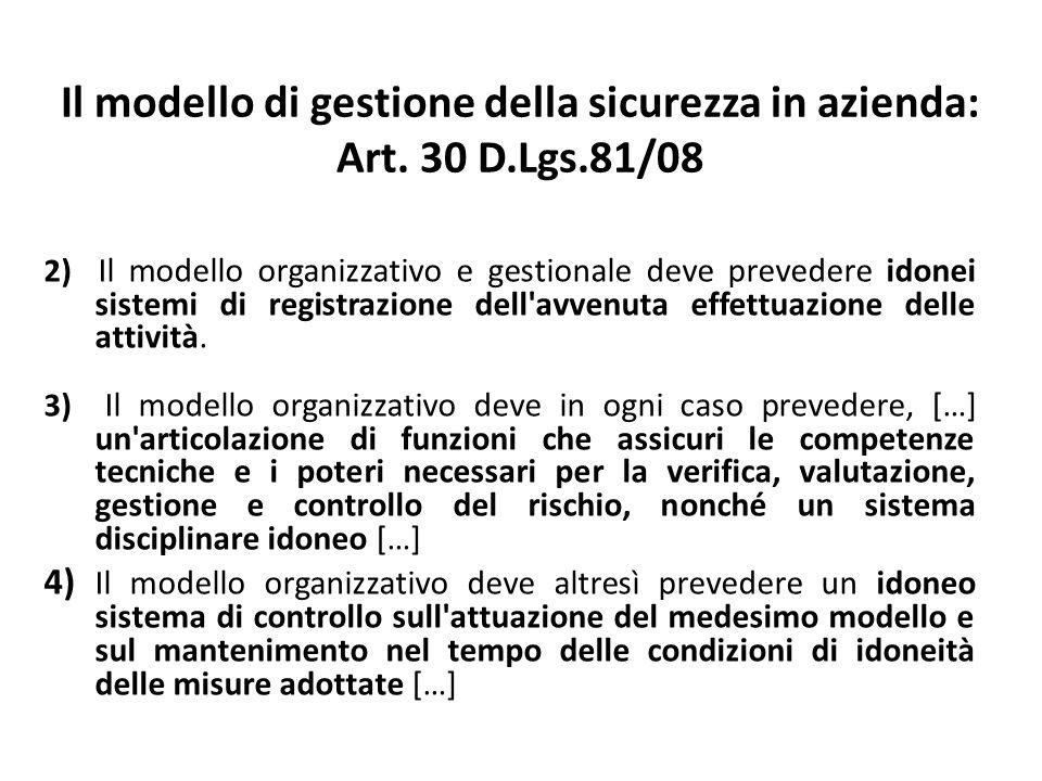 2) Il modello organizzativo e gestionale deve prevedere idonei sistemi di registrazione dell'avvenuta effettuazione delle attività. 3) Il modello orga
