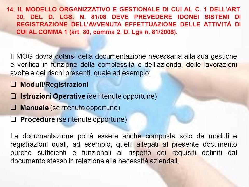 Il MOG dovrà dotarsi della documentazione necessaria alla sua gestione e verifica in funzione della complessità e dell'azienda, delle lavorazioni svol