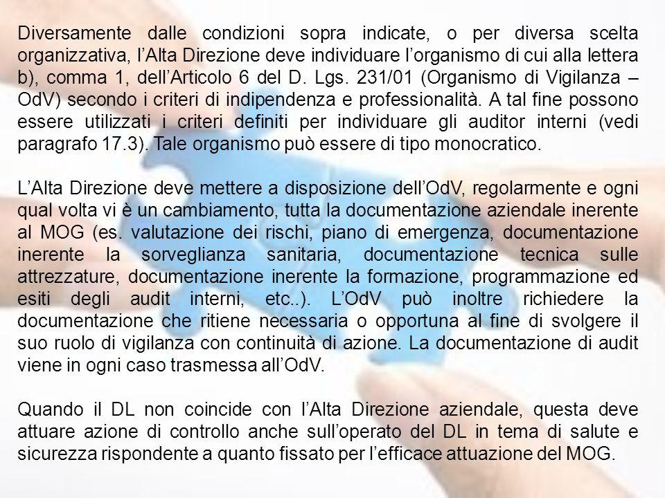 Diversamente dalle condizioni sopra indicate, o per diversa scelta organizzativa, l'Alta Direzione deve individuare l'organismo di cui alla lettera b)