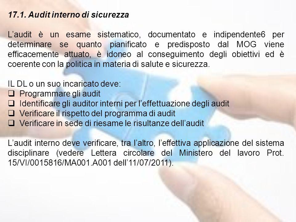 17.1. Audit interno di sicurezza L'audit è un esame sistematico, documentato e indipendente6 per determinare se quanto pianificato e predisposto dal M